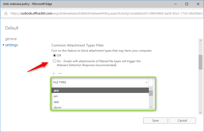 screenshot of Office 365's Common Attachment Types Filter