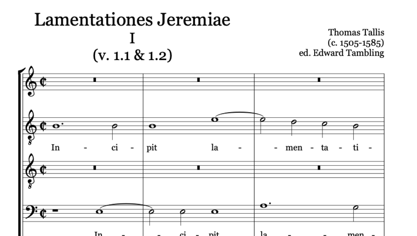Section of musical score from Lamentations of Jeremiah the Prophet—Thomas Tallis