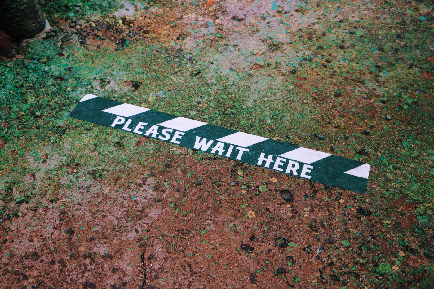 "Black and white striped tape on dirt reads ""Please Wait Here"""