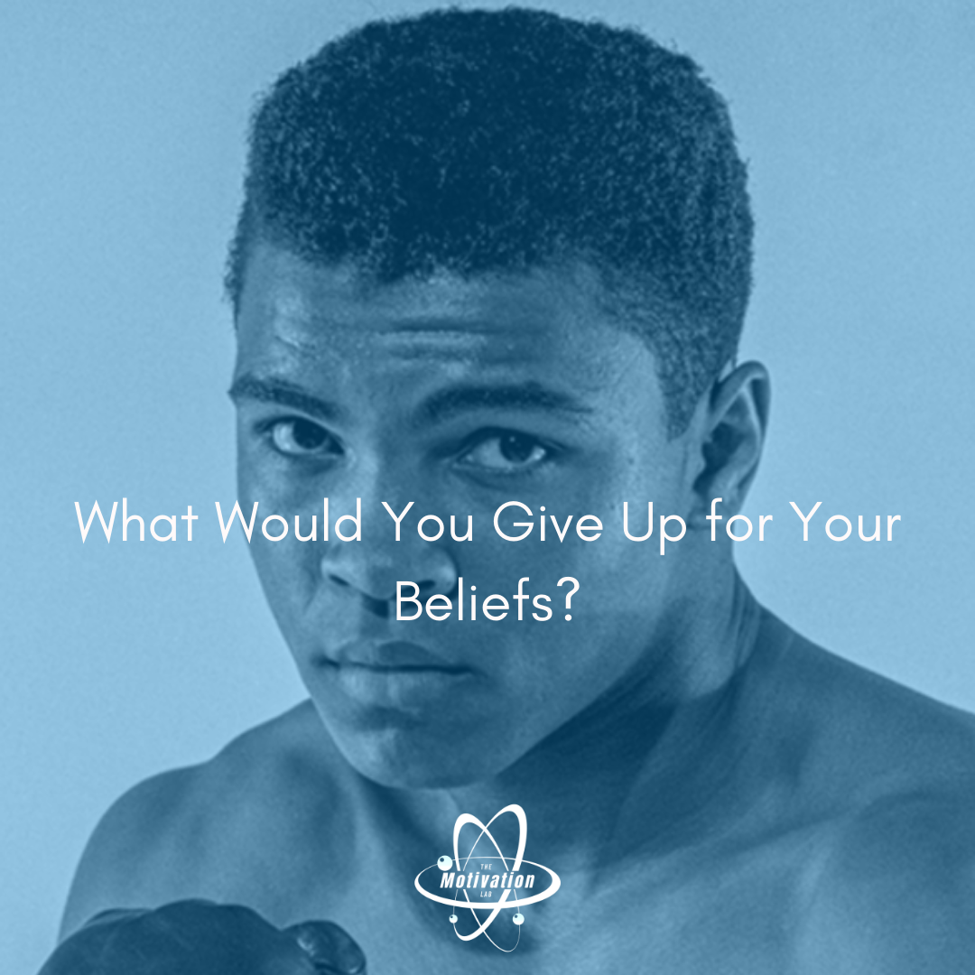 Provocative Picture of Muhammad Ali by Stanley Weston/Getty Images with Caption: What Would You Give up for Your Beliefs
