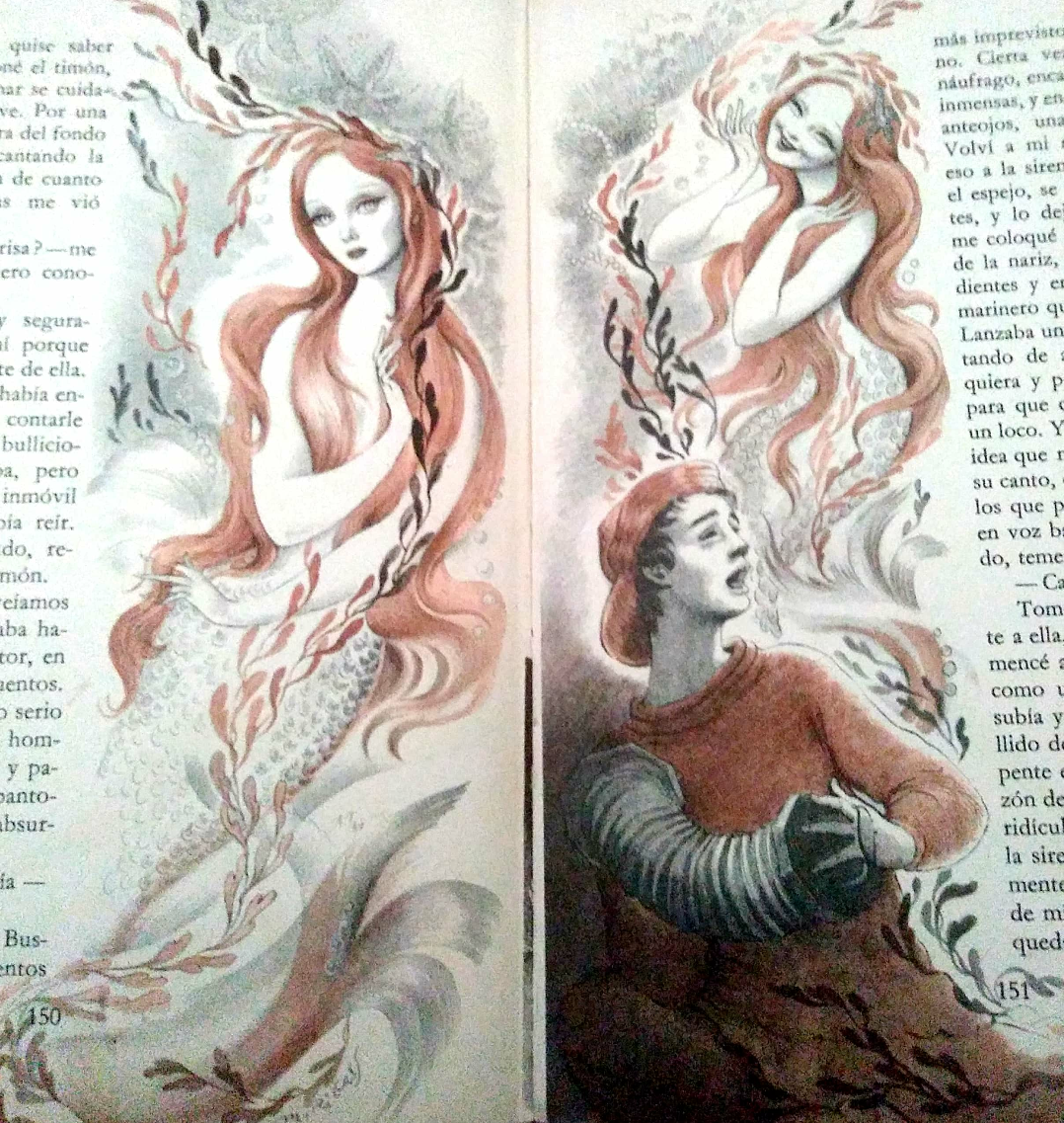 """Illustration of a mermaid and sailor from """"The Green sailor"""" by Hernán del Solar"""