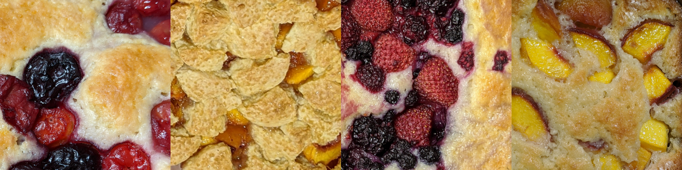 Cherry pudding, Northern peach cobbler, Berry pudding, Southern peach cobbler