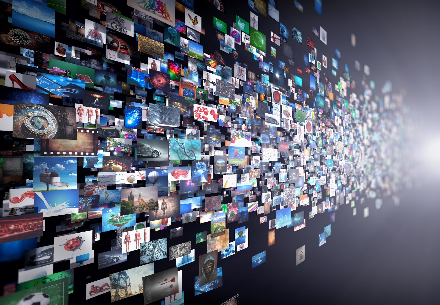 3D illustration of a data stream of movies and TV shows being watched with a VPN.