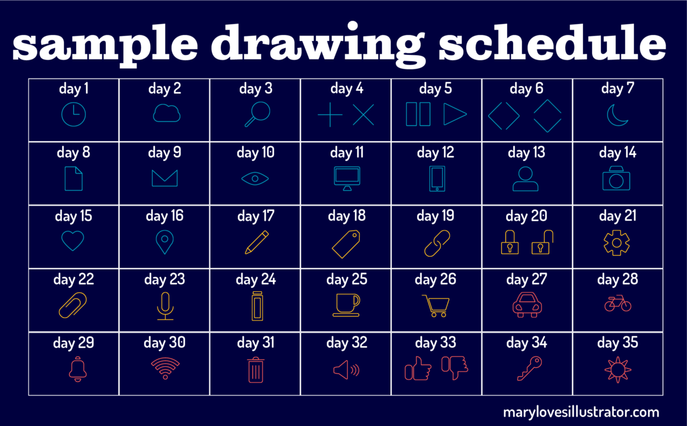 A sample schedule for learning adobe illustrator in about a month, just be drawing icons