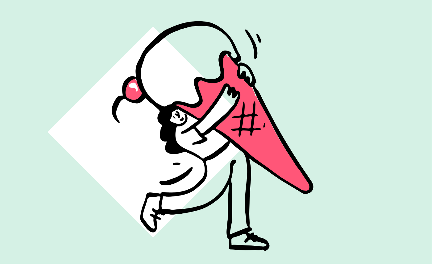 Illustration of a person carrying a giant icecream.