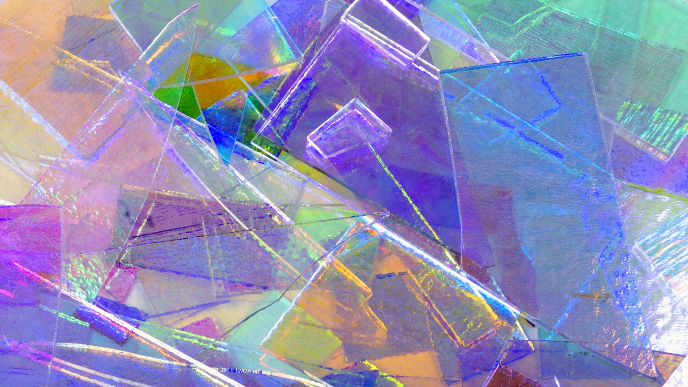 Decorative, multi-color image of layers of colored glass.