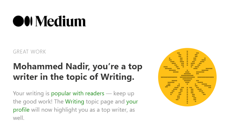 A top writer email from Medium.