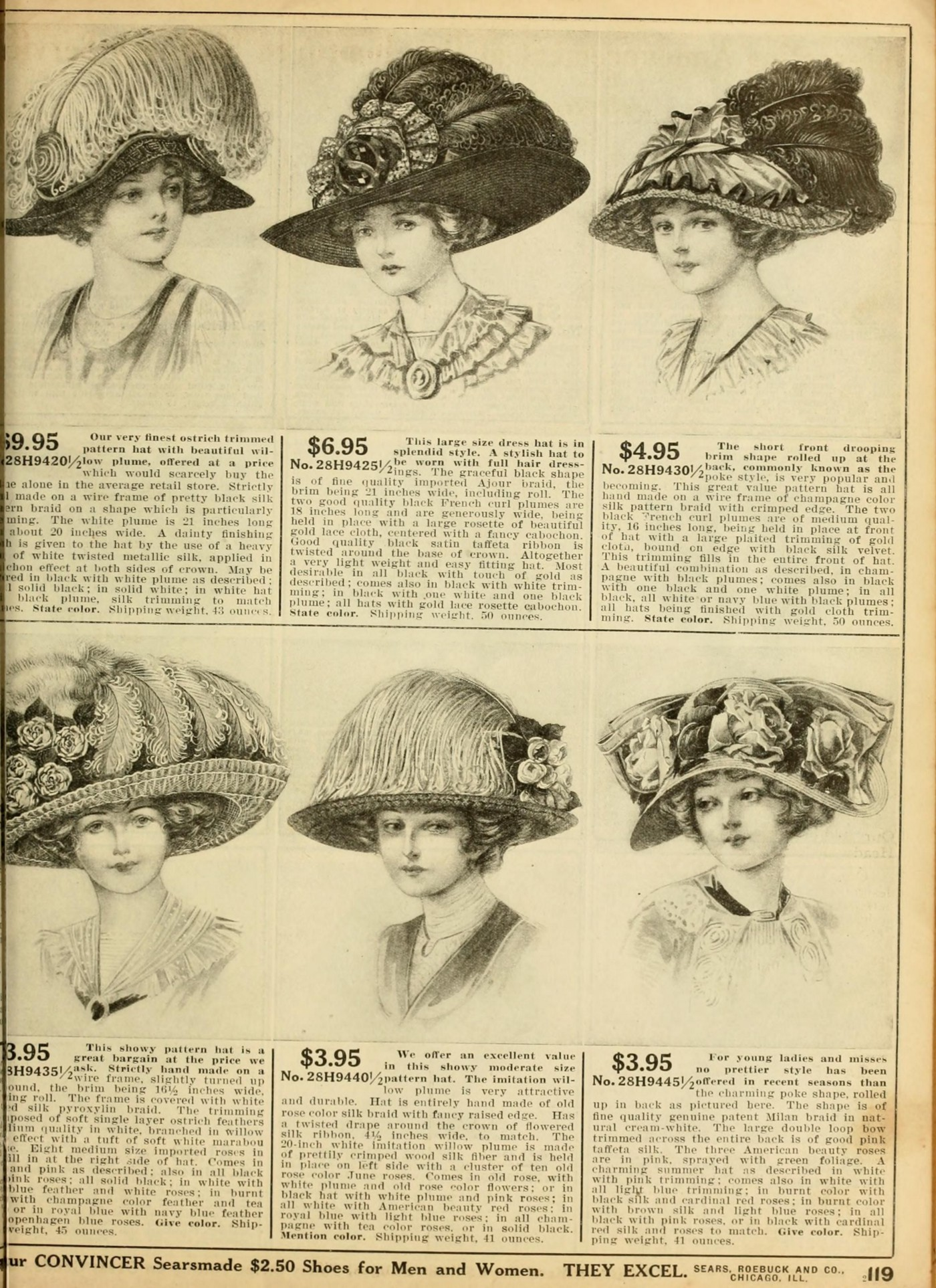 A page from the Sears Roebuck catalog, circa early 1900s, USA.