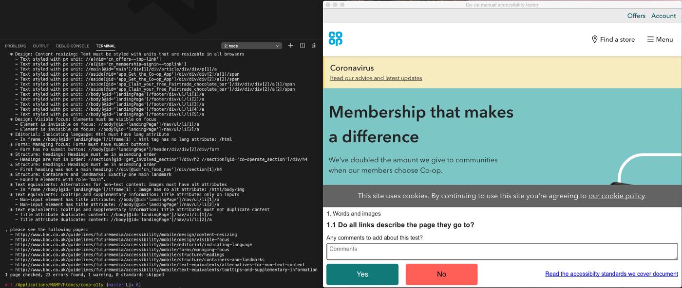 Automated testing running on coop.co.uk