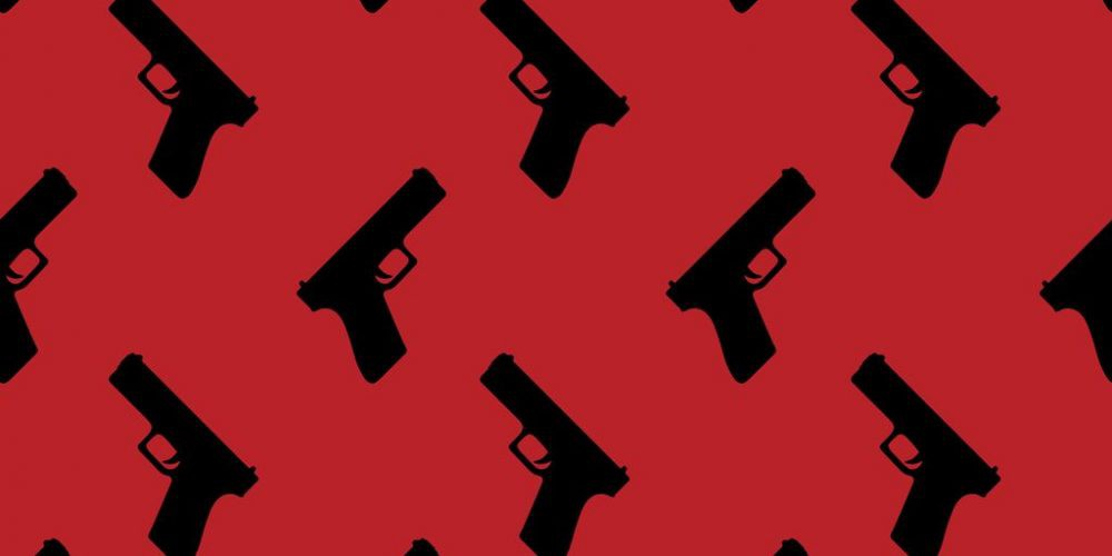 A red background with black silhouettes of pistols.
