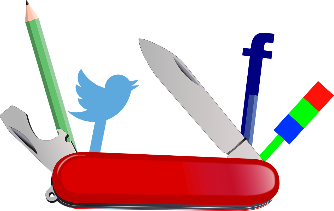 Swiss army knife with pen, twitter logo and facebook logo