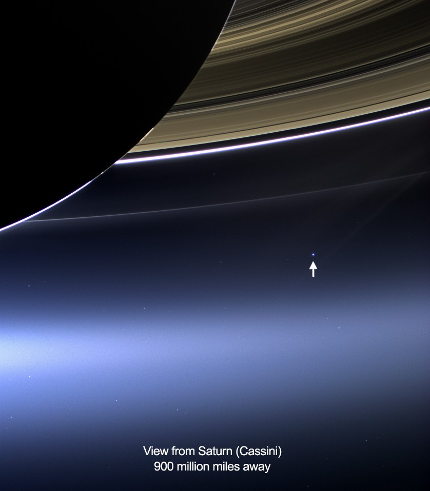 Real photo of Earth as viewed by Cassini spacecraft
