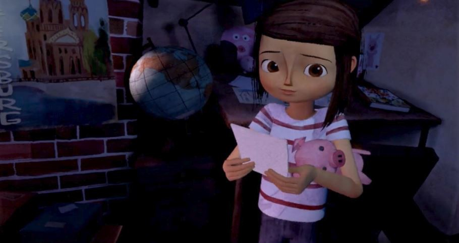 Young animated girl holding a piece of paper and with a cuddly toy pig under her arm looks at the camera.