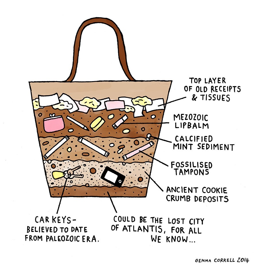 the archaeology of a woman's purse