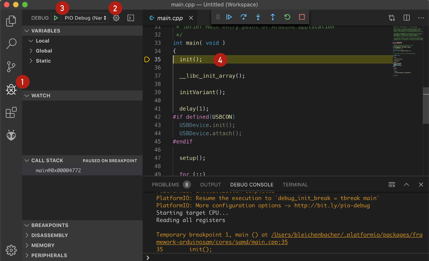 PlatformIO debugging session: debug view, configuration selection, start, first breakpoint