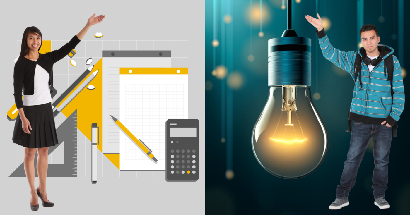 An illustration of a desk with notepads and pens, plus a photo of a light bulb, with two cutouts of people superimposed.