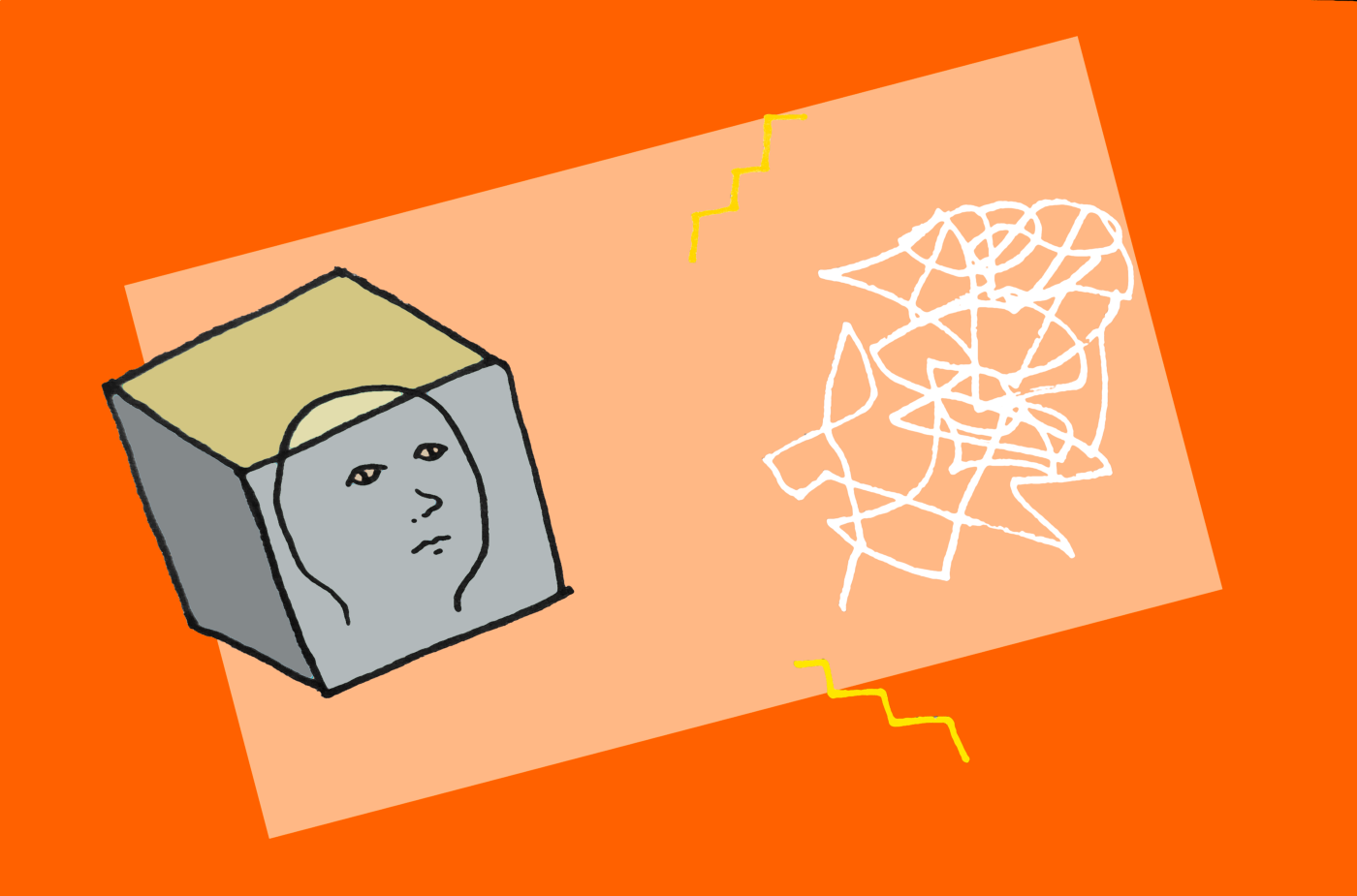 A face in a box is looking at a messy scribble with sparks