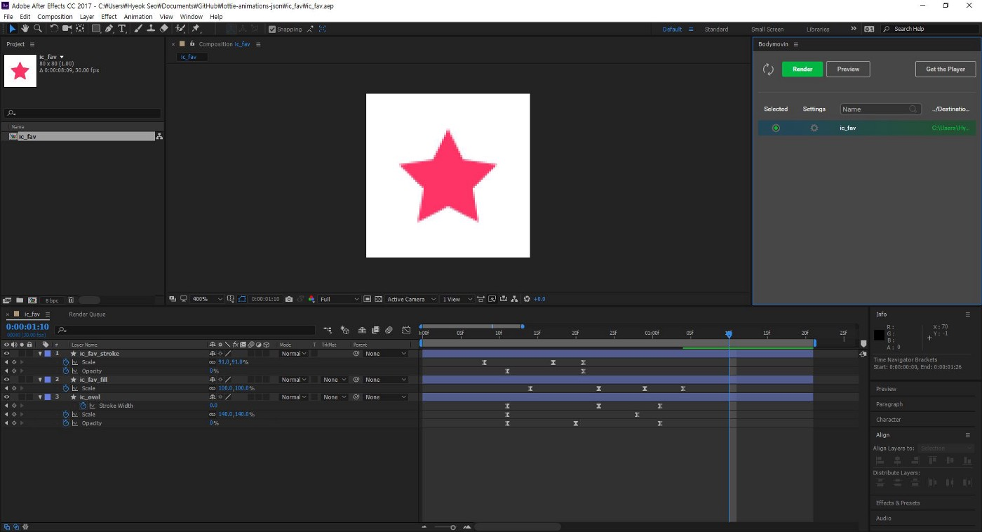 Using After Effects plug-in 'Bodymovin' for Airbnb 'Lottie'