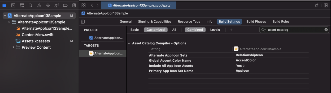 """An image of the project's Build Settings tab with the options filtered to """"asset catalog"""" and """"Customized"""" to show the changes to the """"Alternate App Icon Sets"""" and """"Include All App Icon Asset"""" flags."""