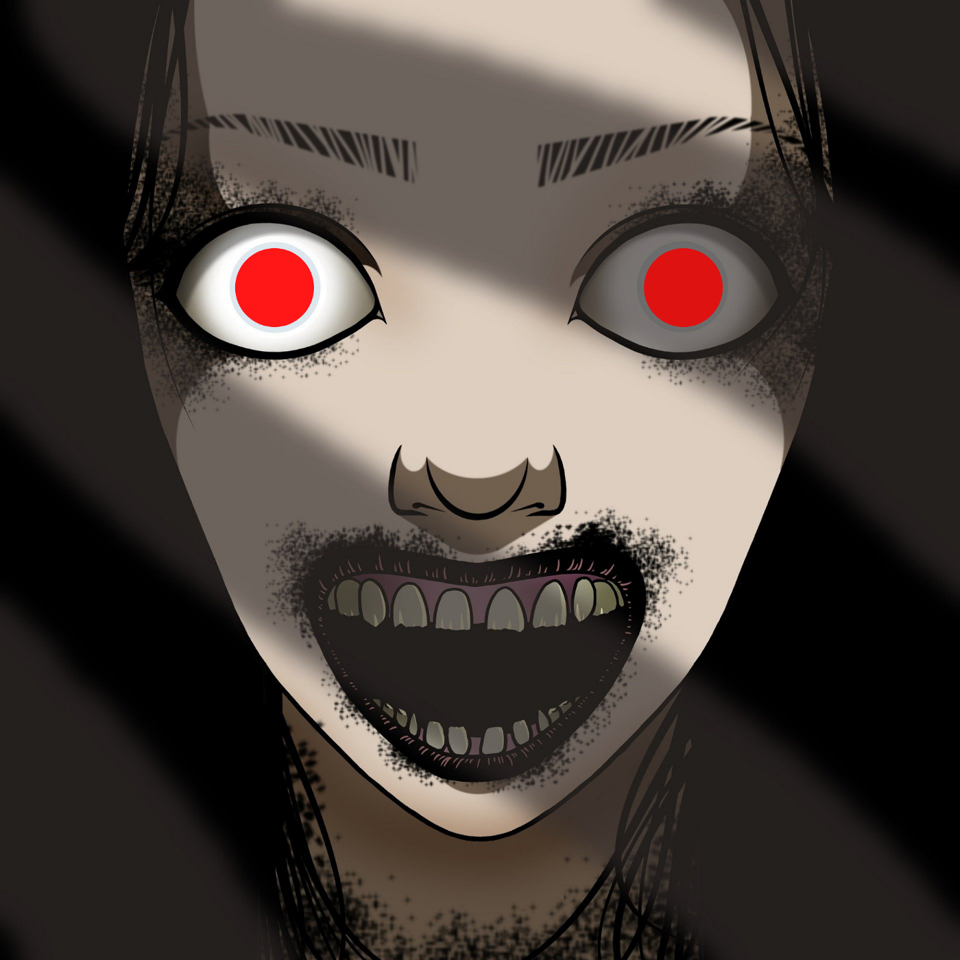 Illustration of a Pontianak with red eyes, open jaws.