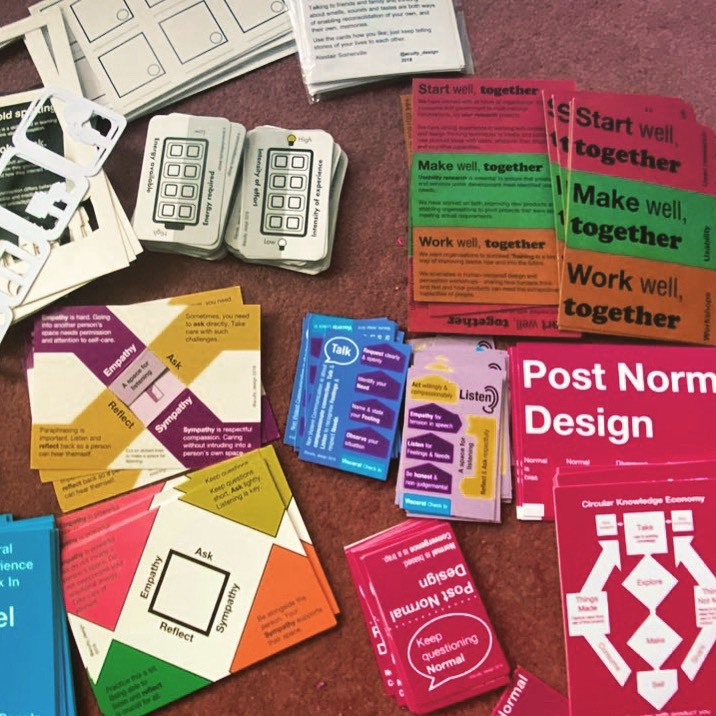 A selection of workshop cards spread on the floor