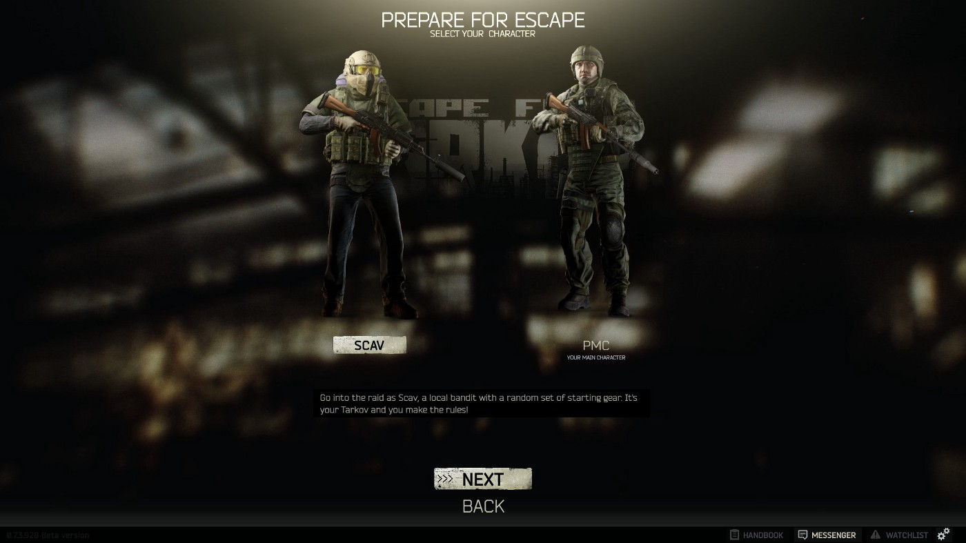 The game currently provides two different play modes SCAV PMC