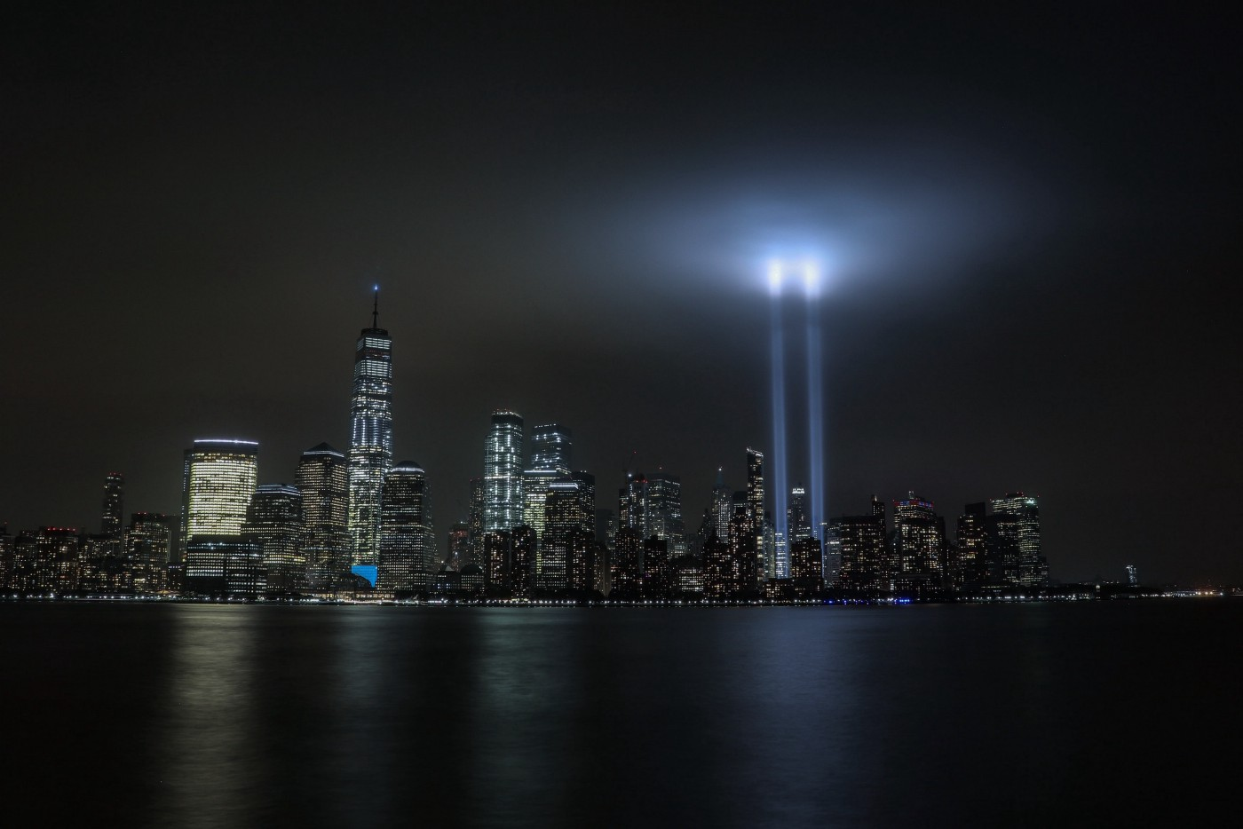 New York at night with Twin Towers memorial lights