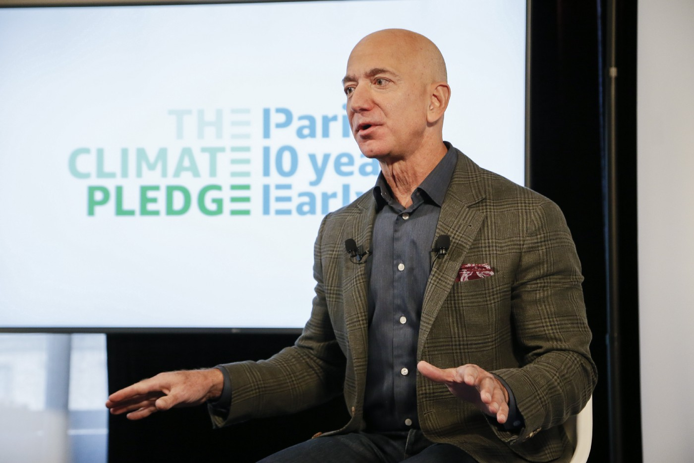 Amazon CEO Jeff Bezos announced the co-founding of The Climate Pledge at the National Press Club on September 19, 2019.