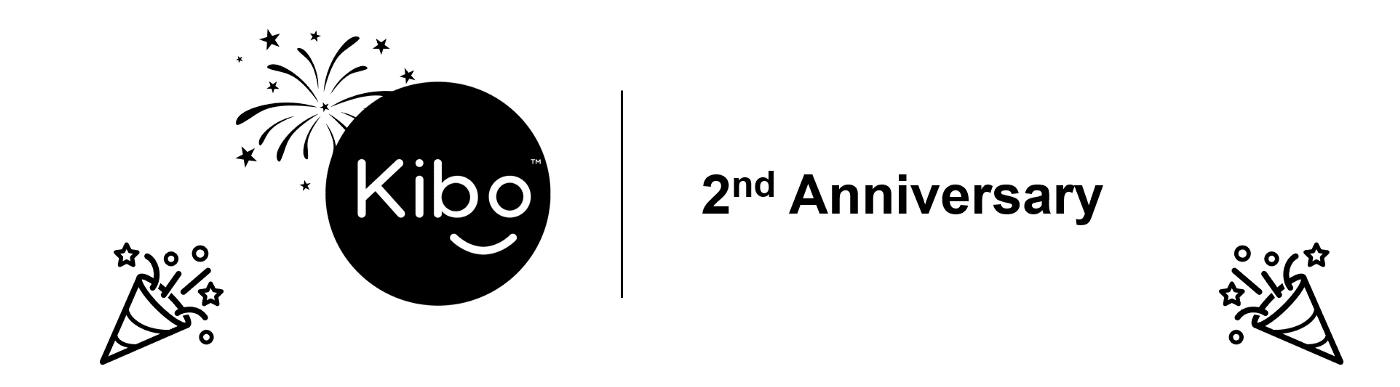 This image shows: Kibo logo on the left side and 2nd year anniversary text on the right side with images of celebration