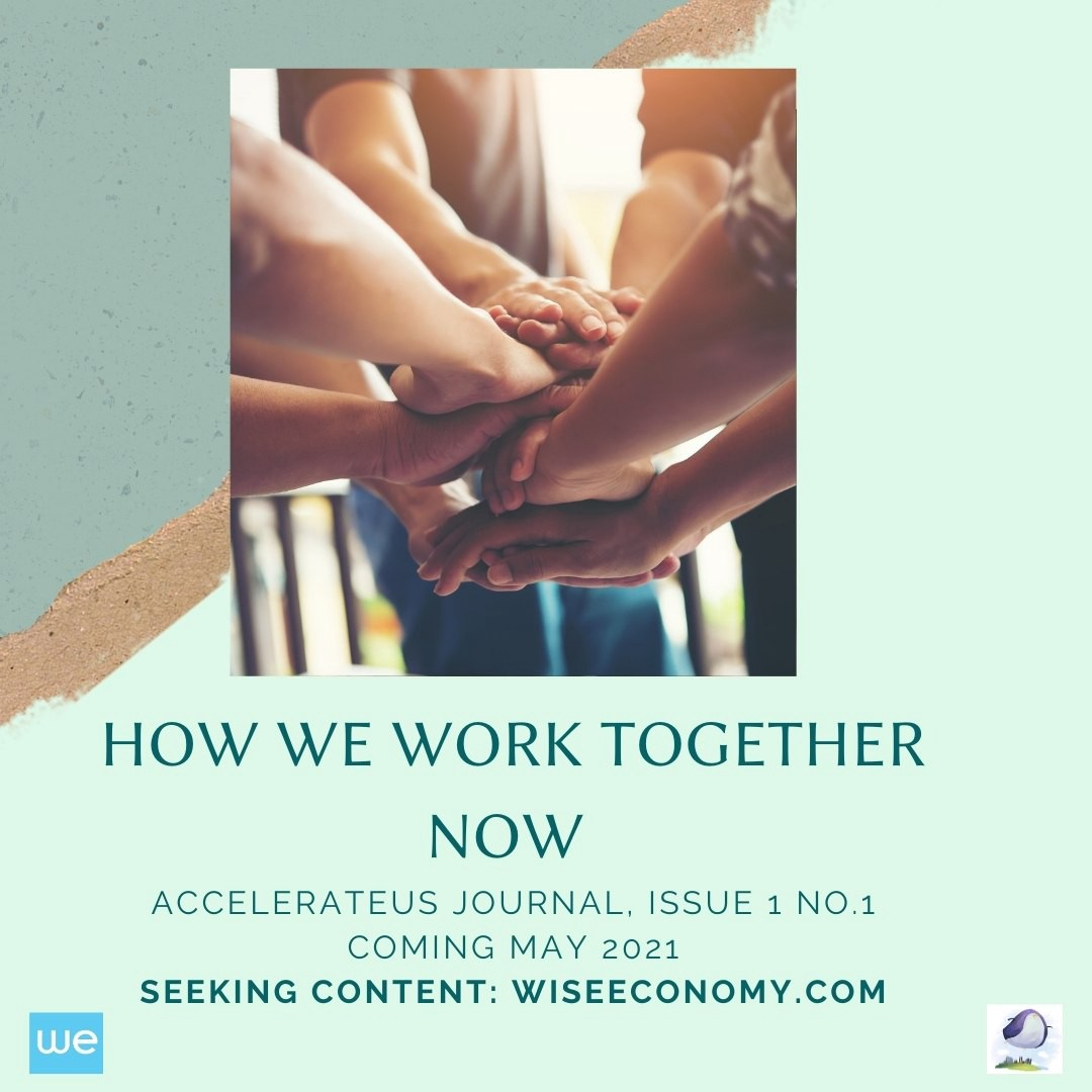 """cover of journal reading, """"How We Work Together Now/ AccelerateUS Jounal Issue 1 №1 / Coming May 2021 / Seeking content wiseeconomy.com"""