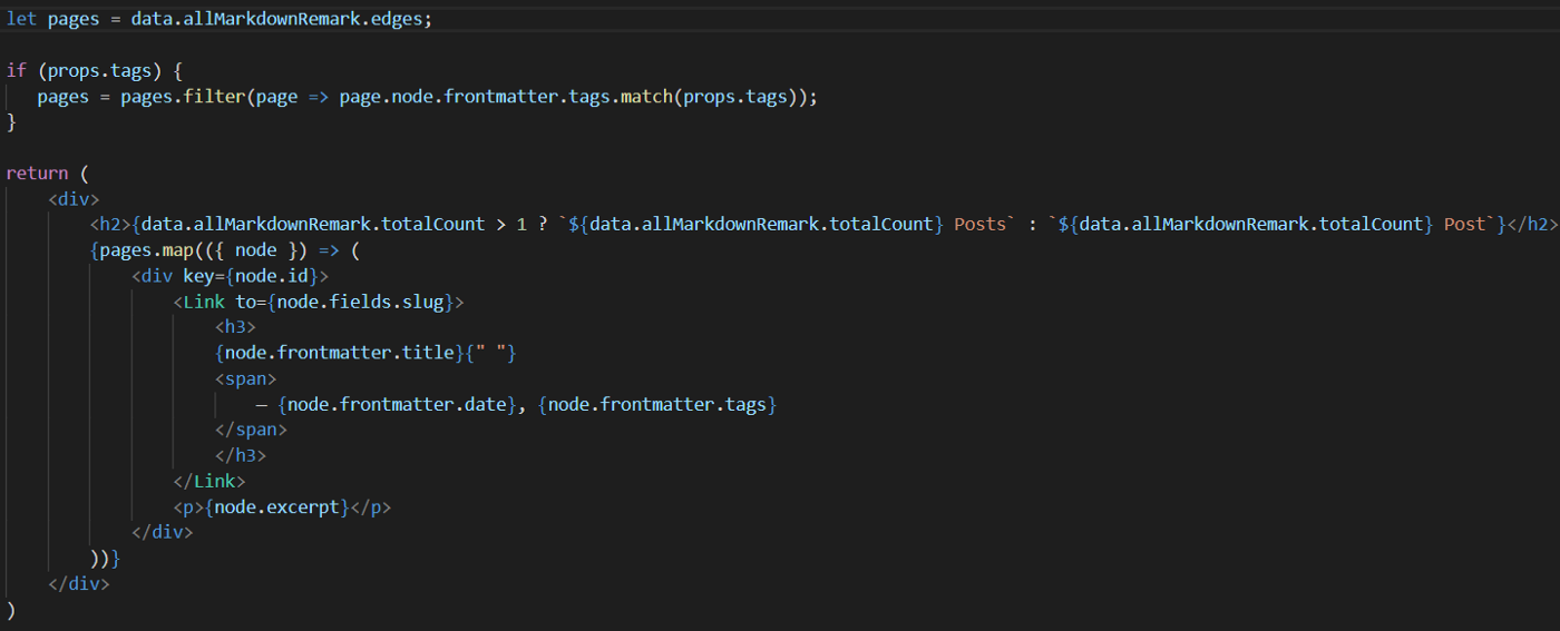 A screenshot from Visual Studio Code with exemplary JSX markup
