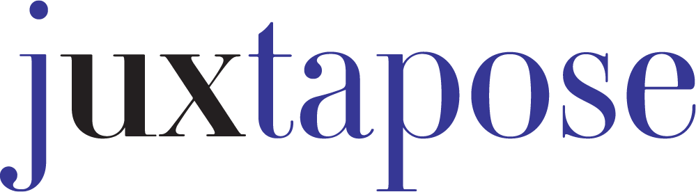 """Juxtapose logo. All letters are purple except for """"U"""" and """"X"""", emphasizing our commitment to excellent user experience."""