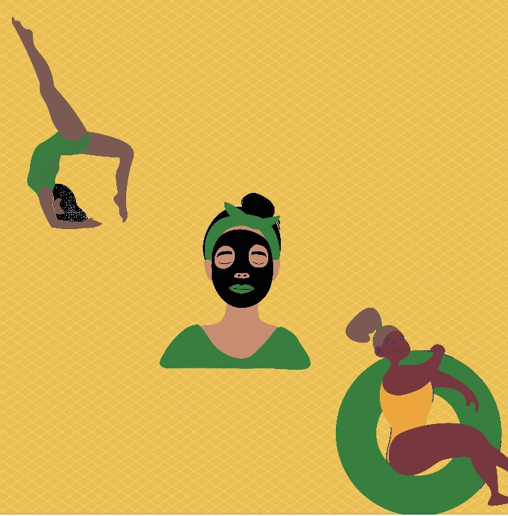 three black women, one doing yoga, one doing a face mask, and one sitting in a pool floaty