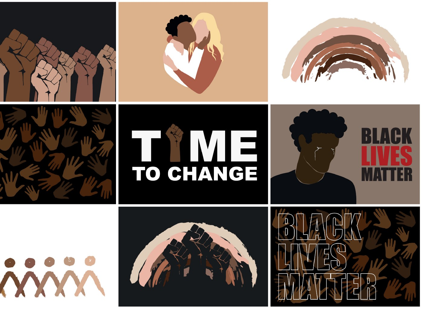 Illustrations of raised fists, a Black person and a White person embracing, a crying Black man, Black Lives Matter
