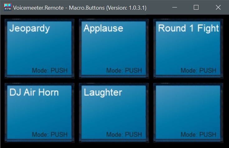 Screenshot of VoiceMeeter Macro Buttons, a selection of buttons to play sound effects on the Microsoft Teams call