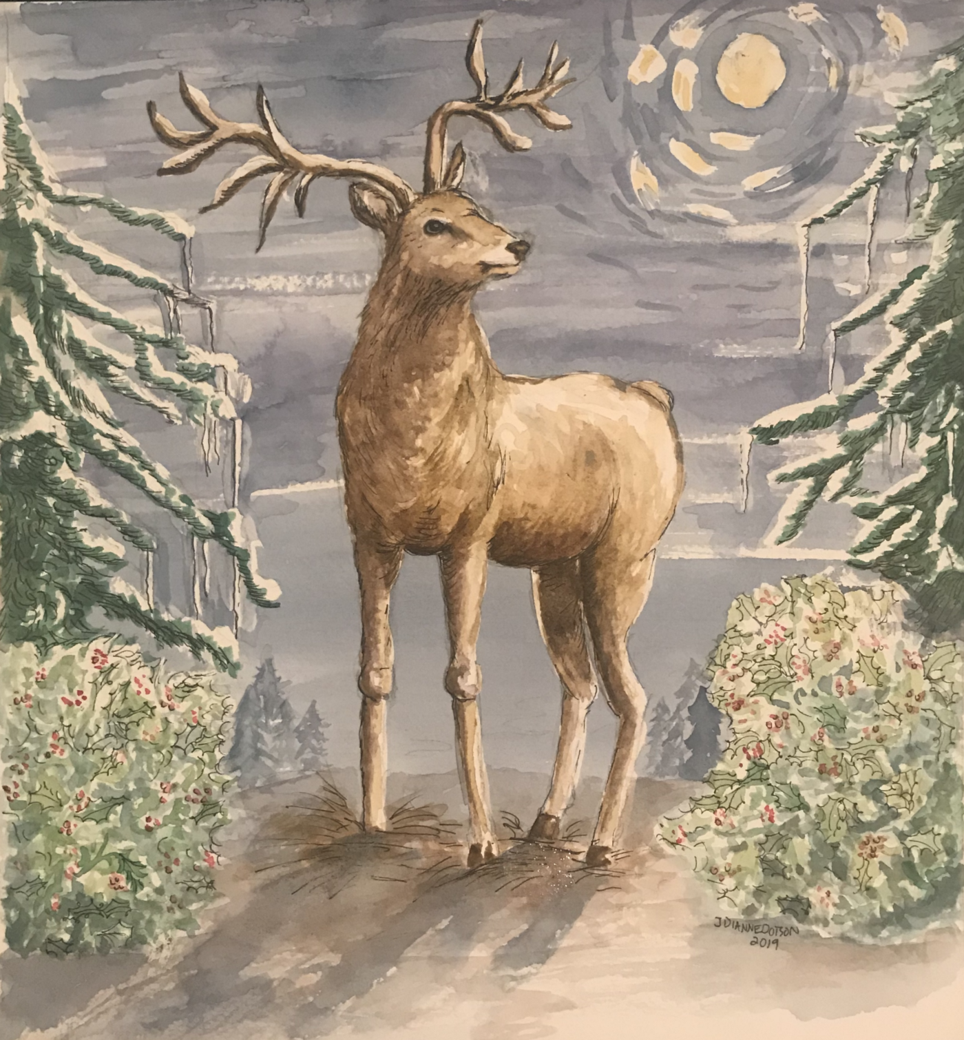 The Yule Stag, original watercolor by J. Dianne Dotson