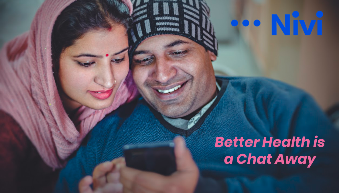 """Image of a man and a woman looking at a cell phone with words written on the image saying """"better health is a chat away"""""""