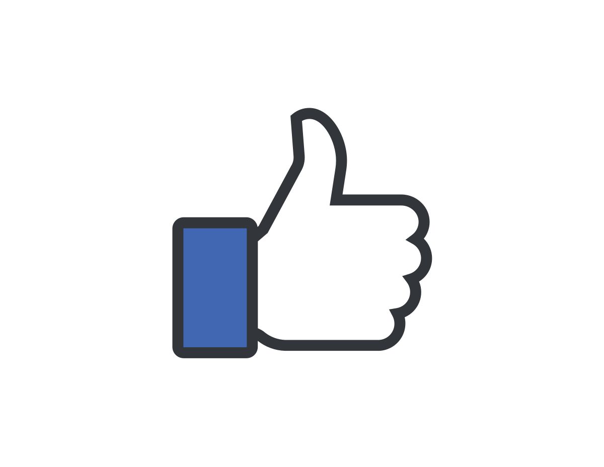The Facebook like button, circa 2012. A thumbs up with a blue collared sleeve.