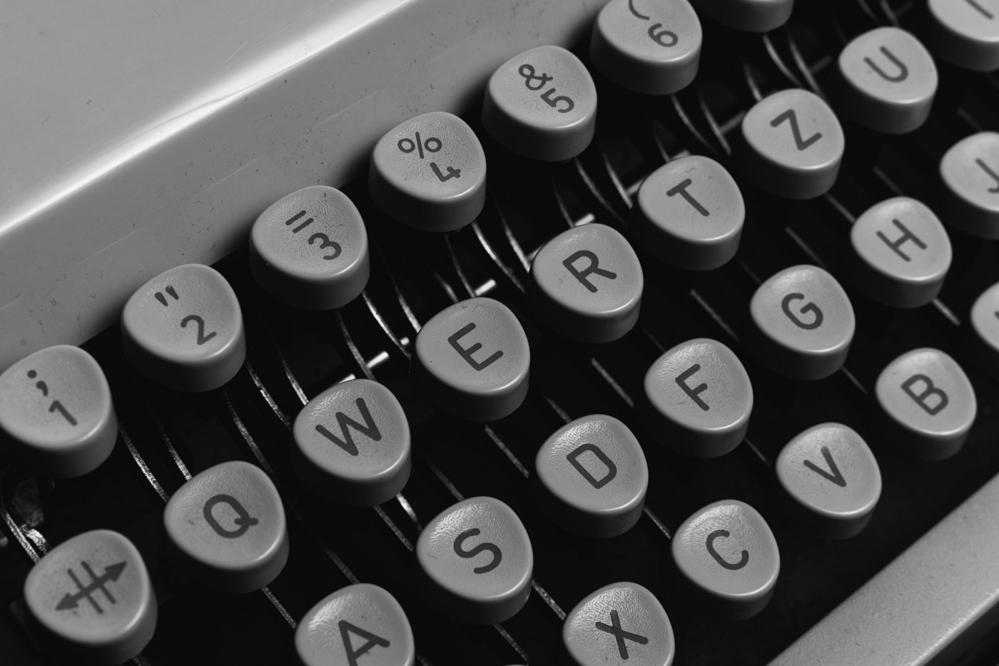 Black and white typewriter keyboard.