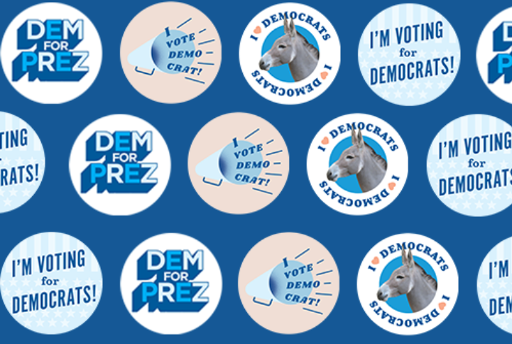 """Stickers that say """"Dem for Prez"""", """"I'm voting for Democrats"""", and """"I love Democrats"""""""