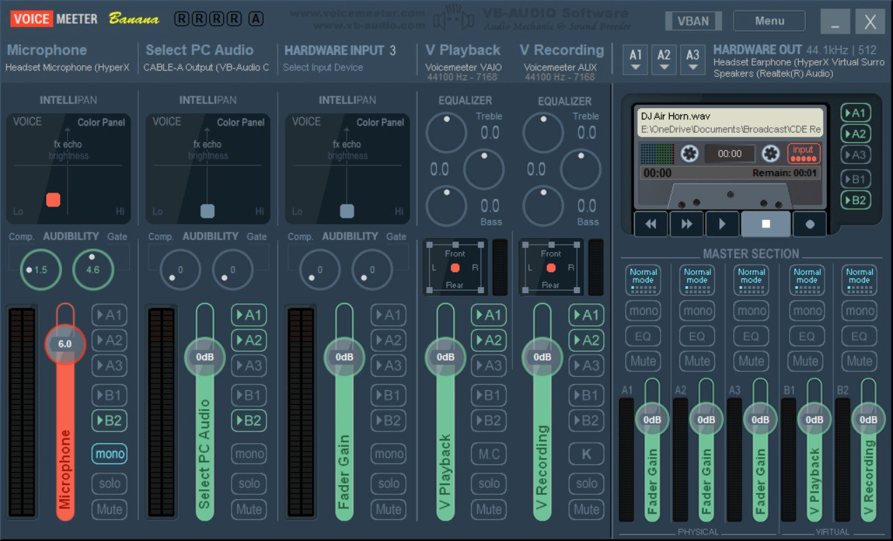 Screenshot displaying the complete configuration of VoiceMeter Banana