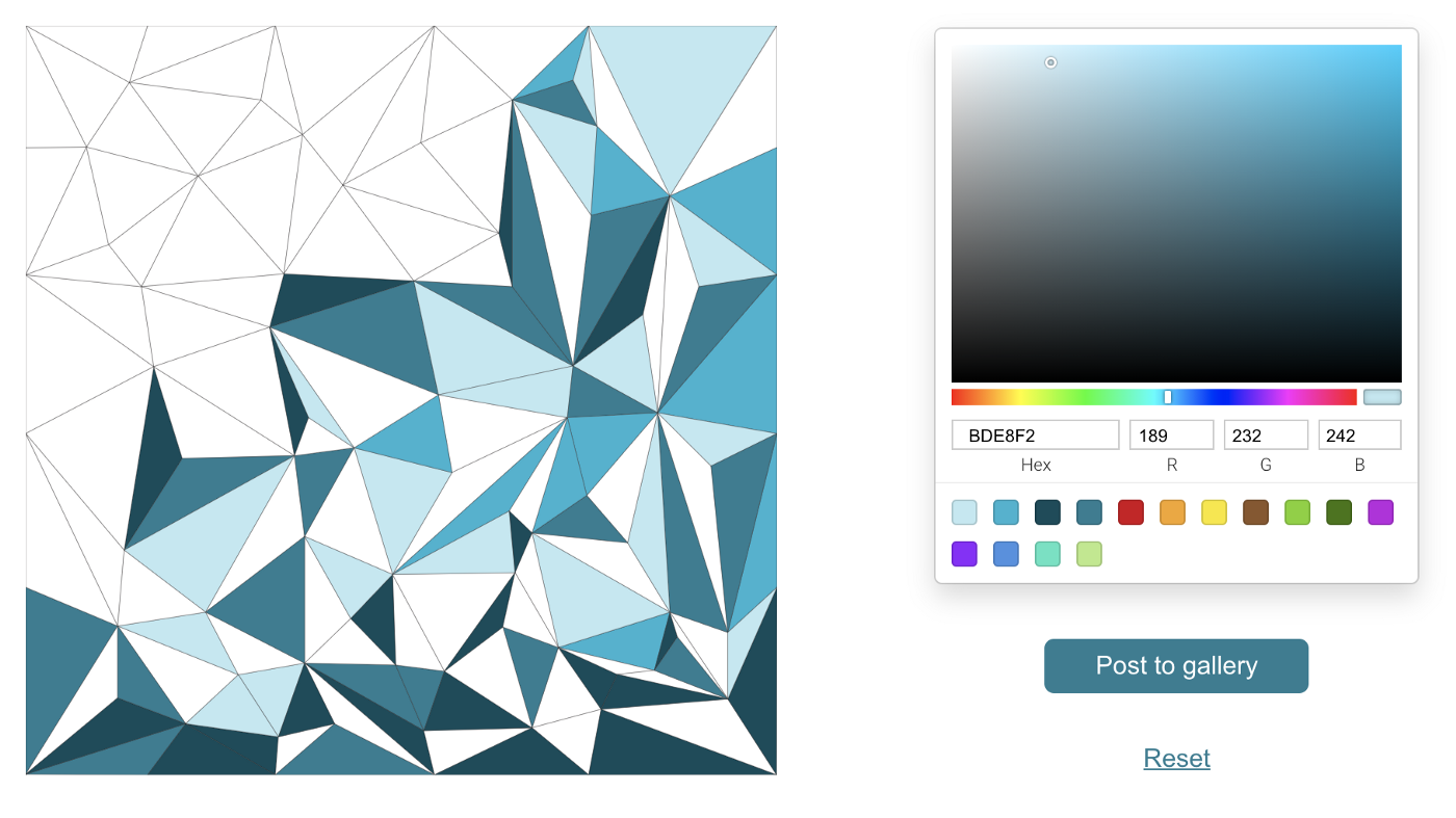 Square composed of 100+ triangles, partly colored in shades of teal beside a color selector tool with a hue slider and 15 swatches of colors.