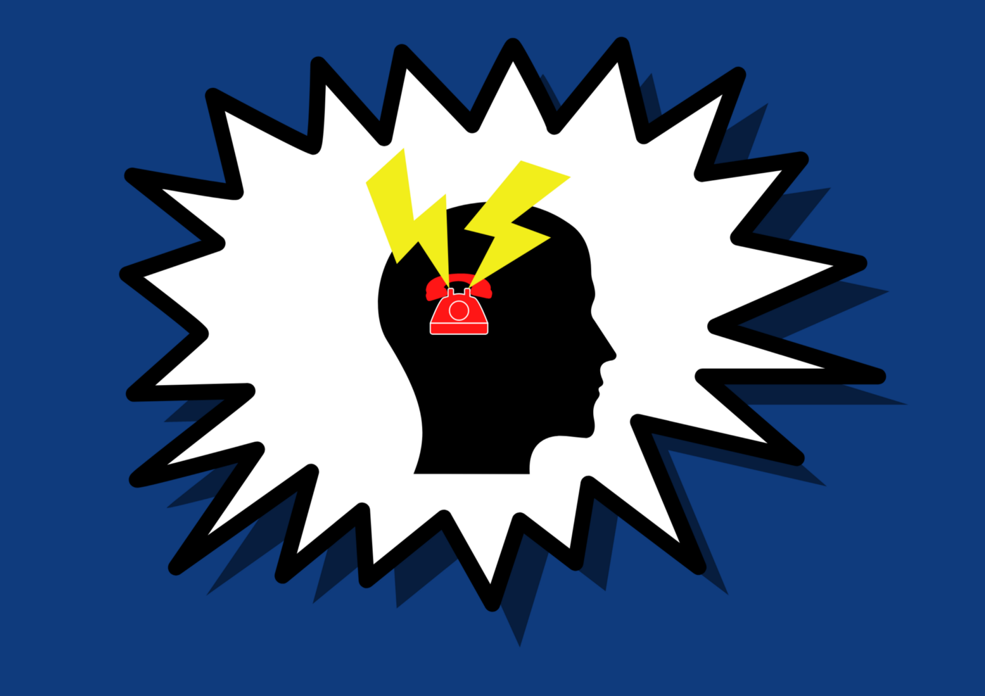 A illustration of a human head with a red telephone positioned at the ear and thunderbolts directed inwards.