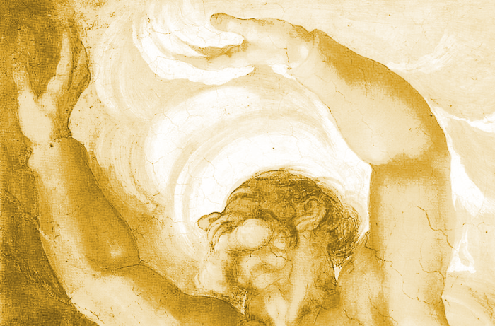 Michelangelo's painting of god separating light from darkness.
