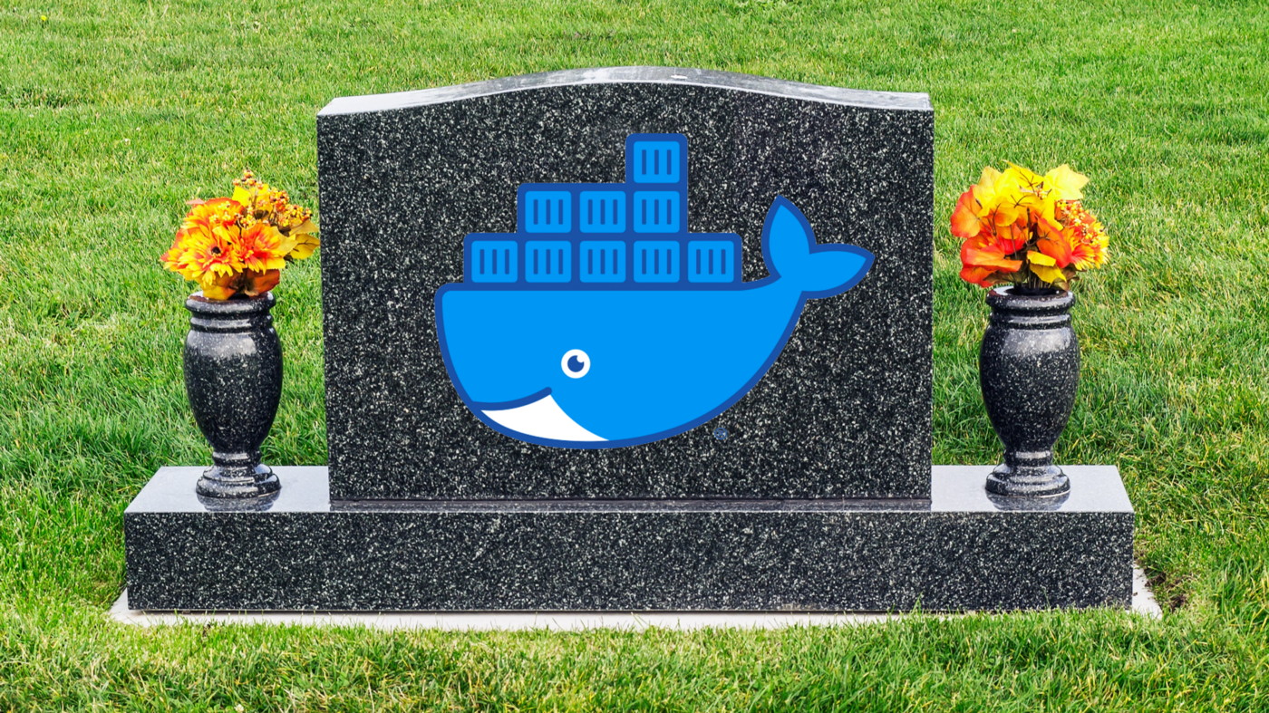 Grave with Docker's logo on it