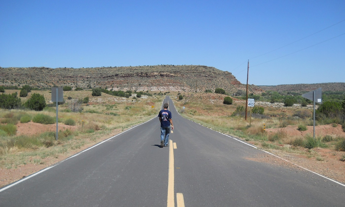 Photograph of lone male walking down the centre of a long straight road towards the horizon