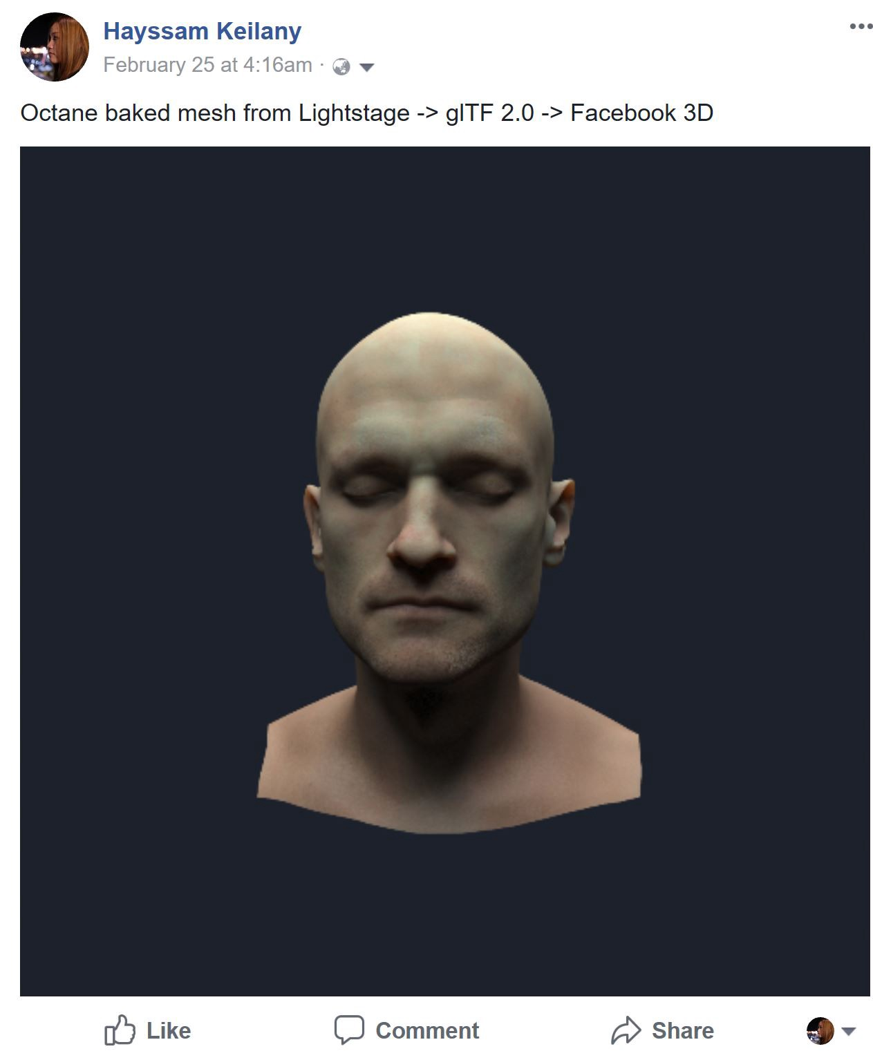 Simple way to bake your mesh using OctaneRender for Facebook 3D Viewer