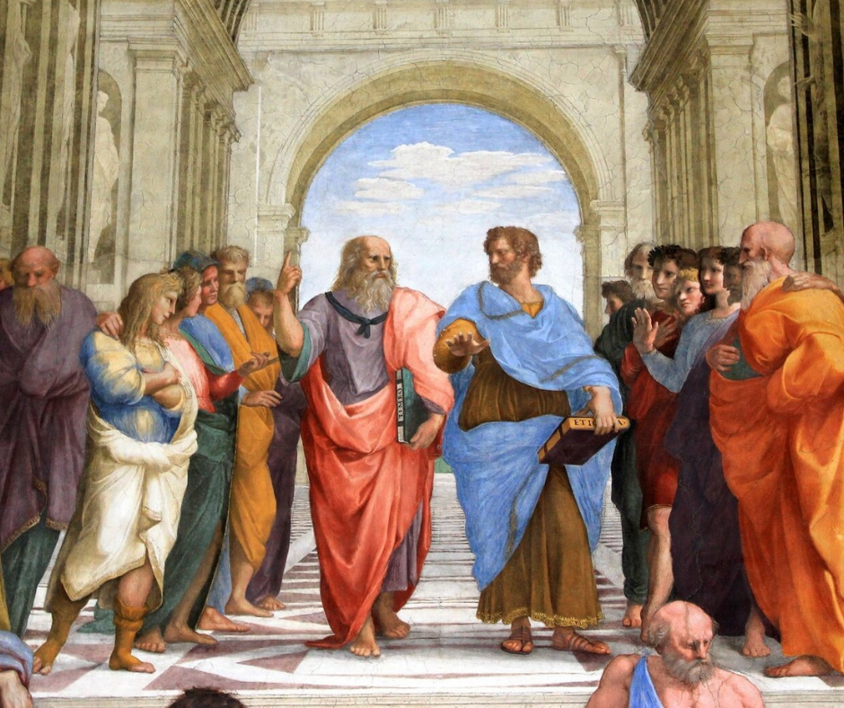 Socrates (left) and Plato (right) as the members of The School of Athens, painted by Raphael (1509–1511)
