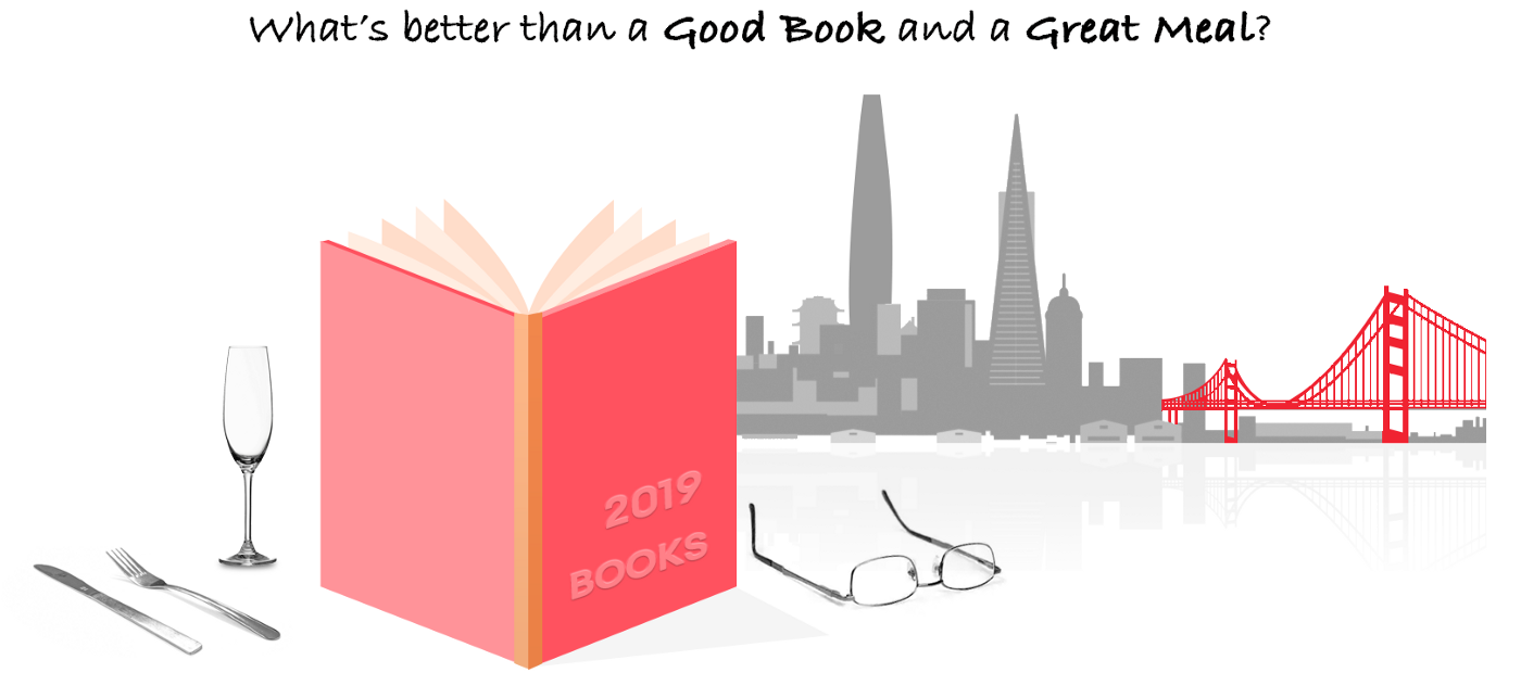 """Illustration of the quote """"What's Better than a Good Book and a Great Meal?"""""""