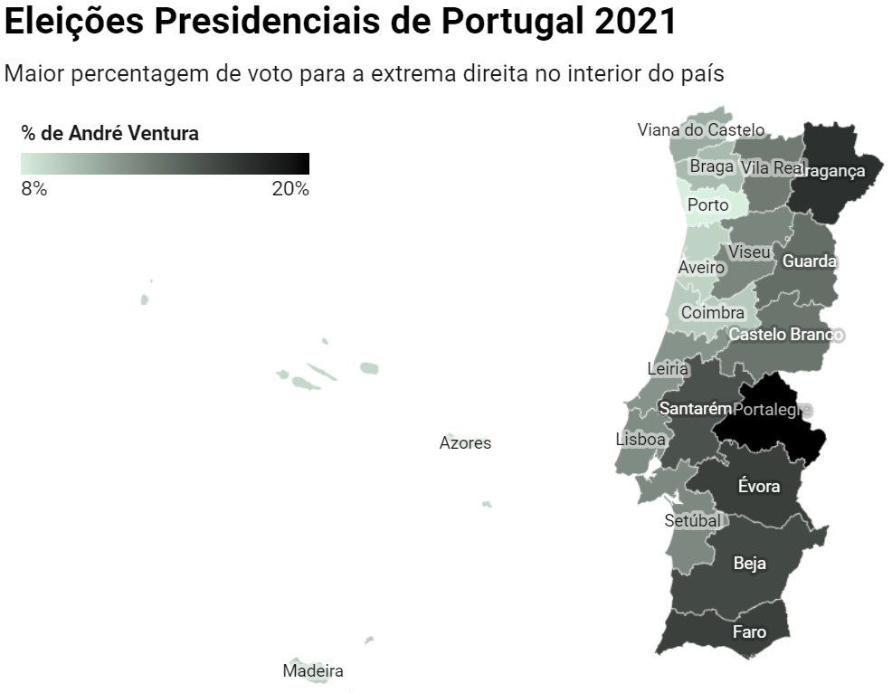 Map showing the % of voters in Portuguese Districts that chose the far-right candidate—by Oliver Carrington & Joao Silva